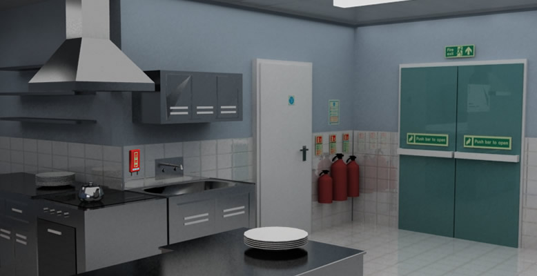 Fire extinguishers suitable for use in kitchens